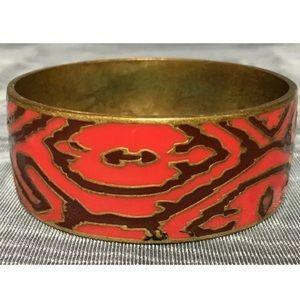 Lucky Brand Painted Enamel Brass Bracelet Red